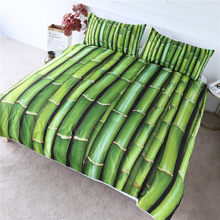 BlessLiving Bamboo Bedding Set Green Vitality Duvet Cover Set 3-Piece 3D Print Plant Bedlinen Nature Inspired Bedspreads Queen(China)