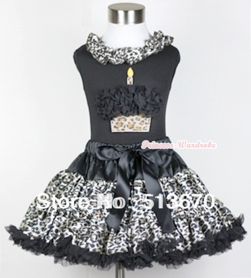 Black Tank Top With Black Leopard Satin Lacing With Black Rosettes Leopard Birthday Cake with Black Leopard Pettiskirt MAMW217<br>