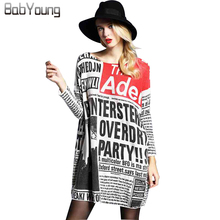 BabYoung 2017 Autumn Sweater Women Newspaper Printing Loose Women Pullover Slash Neck Long Sleeve Sweater Loose Fashion Sweater