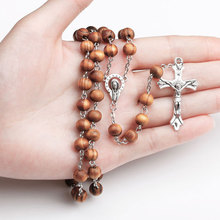 High Quality Fashion Rosary Wood Beads Jesus Cross Necklace Virgin Mary Pendant Long Chain For Women Men Prayer Catholic Jewelry(China)