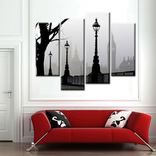 Modular Wall-to-Wall Pictures UK Stree Scape Black and White Poster and Prints Art Canvas Print Oil Painting for House Decor