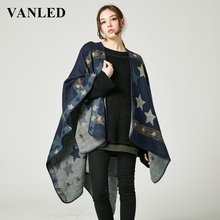 Vanled 2017 Autumn Winter Poncho And Wrap For Women New Cardigan Scarf Cape Top Fringed Stars Striped  Scarves Ladies Bufanda