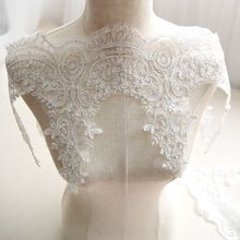 Wedding Dress Embroidery Eyelash Paillette Lace Fabric Handmade DIY Material Curtain Decoration Width 23cm 3Yds/lot(China)