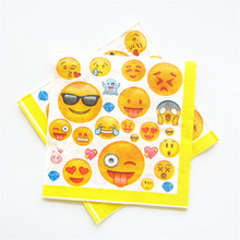 20pcs Emoji Paper Napkin Cartoon Party For Kids Birthday Decoration Theme Party Supplies emoji eventy party decoration