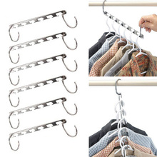 6pcs Stainless Steel Clip Stand Clothes Hanger Pants Skirt Kid Clothes Adjustable Pinch Grip Clothing Organizer Save Space(China)