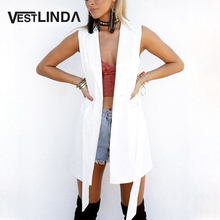 VESTLINDA White Long Blazer Vest Coat Ladies Casual Outwear Cardigan Waistcoat Women Sleeveless Jacket Female Vest with Belt