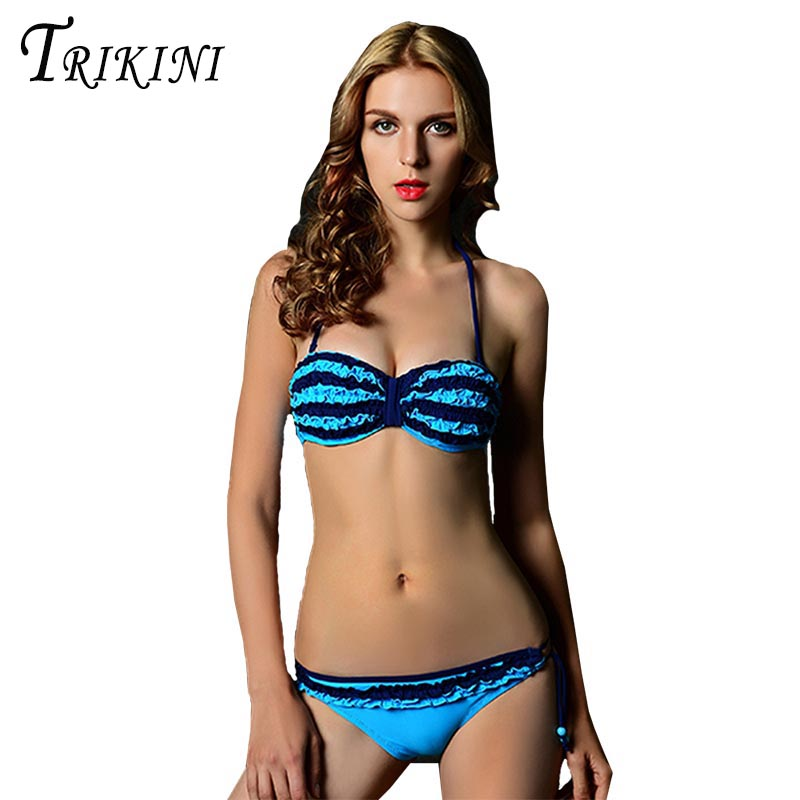 TRIKINI 2017 Sexy Neon Lace Bandeau Bikini Women Bright Color Bathing Suit Two Pieces Swimwear Brand Push Up Bandeau Swimsuit<br><br>Aliexpress