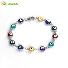 "8SEASONS Girls Women Stainless Steel Bracelets Silver Tone Color Round Evil Eye Multicolor Enamel 20.5cm(8 1/8"") long, 1 Piece"