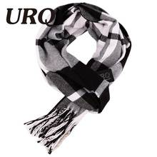 [URQ] Designer Black White Unisex Polyester Fiber Wool Cashmere Blend Plaid Warm Scarf 2016 New Charming Man Scarves A3A17537(China)