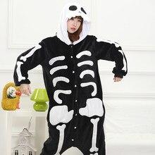Skull Skeleton Kigurumi Costume Onesie Adult Girl Women Flannel Warm Animal  Onepiece Winter Jumpsuit Anime Cosplay Sleepwear 209845d0e