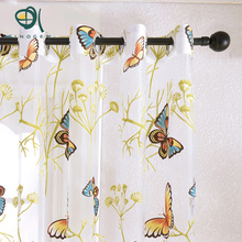 Sinogem News 2017 Butterfly Curtains Tulle Window Curtain for Living Room Bedroom Kitchen Curtains Printed Sheer Voile Curtains