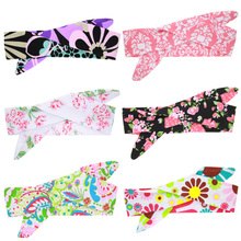 1PC DIY Infant Toddler Newborn Baby Kids Girls Children Bow Floral Print Rabbit Ears Hair Braiders Turban Knot Head Wrap
