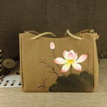The new Chinese national wind hand-painted ink lotus single shoulder bag women messenger bags