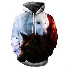 2018 Hot Sale Brand Wolf Printed Hoodies Men 3D Sweatshirt Quality Plus size Pullover Novelty 3XL Streetwear Male Hooded Jacket(China)