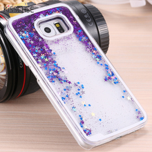 KISSCASE Quicksand Case Flowing Case For Samsung S5 i9600 S6 Bling Star Ultra Clear Liquid Glitter Back Cover Shell Capa S6 G920
