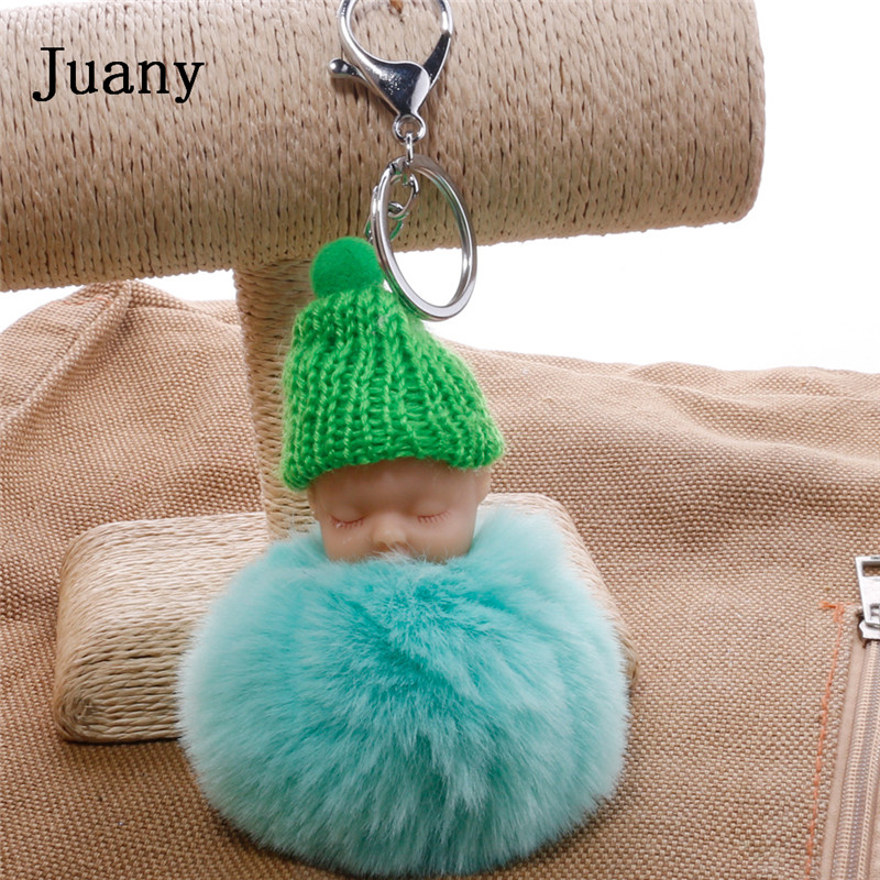 pompom key chain sleeping baby key chain cut rabbit fur ball keychain car key ring women keychian bag charm porte clef9