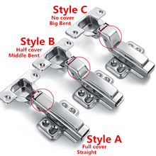 One Pair Clip on 304 stainless steel furniture hinge, soft close, Brass buffer, hydraulic hinge full overlay(China)