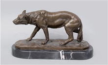 ATLIE 100% Handmade Bronze Vintage Retro hungry  Wolf  Figurine Bronze Sculptures Statue With Marble Base  Office Decor CZW-065