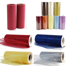 75ft Length Tutu Sparkle Glitter Tulle Roll Spool 6 inch Width Fabric Netting Wedding Sparkle Gift Wrap Bow Mesh Craft