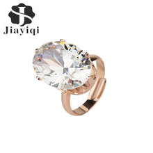 Women Golden Color Adjustable Rings Bling Oval Cubic zirconia Cubic Zircon Jewelry Accessory Luxury Fashion Rings