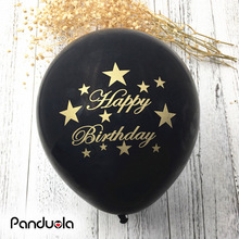 10pcs/lot Black Gold Happy Birthday balloons with golden writting 10inch latex ballon helium quality for Adult Birthday Party(China)