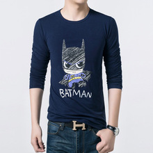 Free Shipping New Teenages Love Cute Version Batman Printing T-Shirt Full Sleeve 3 Colors Batman Top Tees