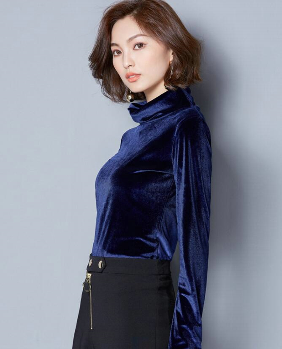 WANXIANGYUAN Women Long Sleeve Blouse 2017 Autumn Fashion Turtleneck Shirt Women Ladies Velvet Warm Blouses Shirts for Women 10