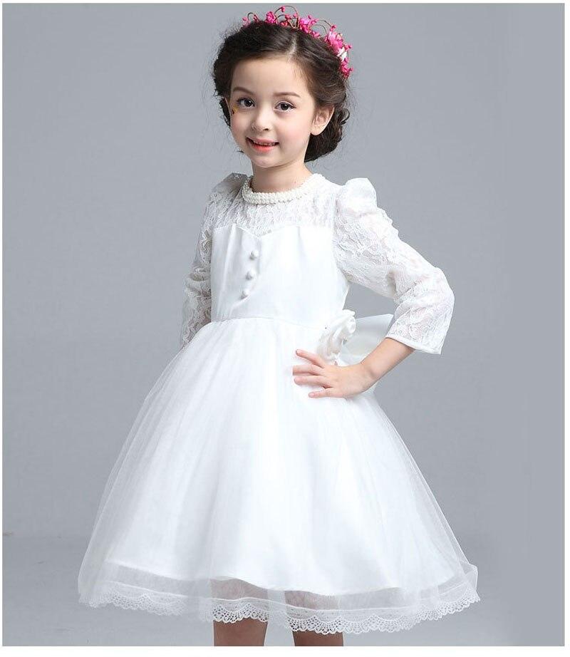 Flower Girls Long Sleeve Dresses Winter Big Bow On The Back Lace Princess Dress Roupas Infantis Menina Wedding Party Dresses<br>