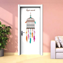 Eco-friendly Colorful Birdcage Stickers For Home School And Store Decor Kid`s Room Livingroom Entrance Dining Hall Door Decals(China)