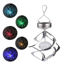 Tanbaby Solar Power LED Garden light Wind Chime Moving Rotating Hanging Lighting Lamp RGB Color changing for Garden, Tree ,Yard(China)