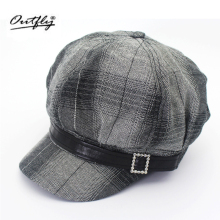 Autumn Feather Check Fashion cap Fashion Women 's Style Mono Octagonal Hat Elegant Dome Hat(China)