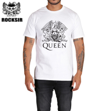 Rocksir Men's T-shirts Queen Rock Band designs t shirt Men brand clothings fitness tops tee Summer White cotton t shirt