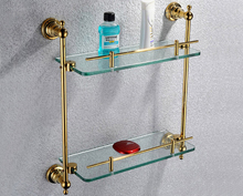 Free shiping copper gold paint double layer glass shelf shelving bathroom shelf bathroom shelf GB012d-1(China)