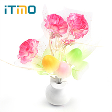 Luminaria LED Night Light Lamp Novelty Light Sensor Colorful Nightlights US Plug Mushroom Flower Plant Lilac(China)
