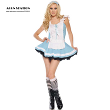 Free Shipping 2016 New Light Sky Blue Halloween Two-Tone Matte Satin Sexy Woman's Maid Cosplay Dress Costume(China)