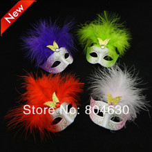 Lovely mini feather mask venetian masquerade party gift christmas decoration wedding favor novelty 24pcs/lot free shipping