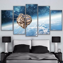 Home Decor Modular Pictures Poster 5 Panel The Man-Made Satellite Print Painting For Living Room Frame High Quality Canvas(China)