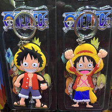 Anime Cartoon Cute Kawaii One Piece Luffy keychain Action Figure Toys double-sided Silicone PVC keychain(China)