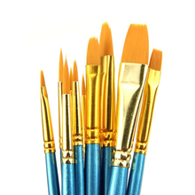 10 PCs Artists Paint Brush Set Acrylic Watercolor Round Pointed Tip Nylon Hair Happy Gift High Quality