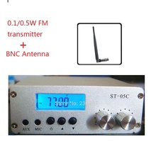 New model 0.1W/ 0.5W FM transmitter stereo pll radio broadcast 77-108MHZ ST-05C + BNC Antenna(China)