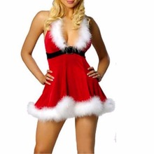 Women Sexy Christmas Festival Costumes Red Corduroy Corset Santa Claus Dress Playing for Adult Santa Dresses Plus Size(China)