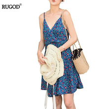 Buy Rugod Women Dress 2017 Summer Dress Casual Floral Print Backless Bralette Beach Dress Women Clothing Cozy Cotton Dress Vestidos for $19.20 in AliExpress store