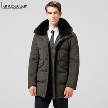 Top Grade New Fashion Duck Down Jacket Men Thick Tend Mens Winter Parka With Fur Hood Long Mens Winter Jackets And Coats(China)