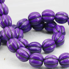12mm Purple Pumpkin DIY Loose Beads Turkey Howlite Semi Finished Stones Balls Gifts Women Girls Gifts Accessories Jewelry Making(China)