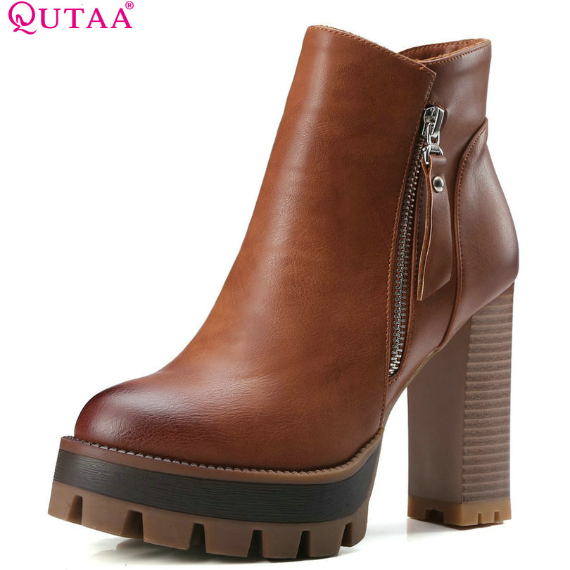 QUTAA Gray 2017 Round Toe PU Leather Western Style Women Shoes Square High Heel Ankle Boot Women Motorcycle Boot Size 34-42<br>