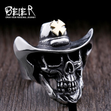 Beier new store 316L Stainless Steel ring top quality gold Cross hat skull ring  fashion Jewelry LLBR8-429R