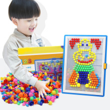296pcs Mosaic Picture Puzzle Toy Children Composite Intellectual Educational Mushroom Nail Kit Toys BM88(China)