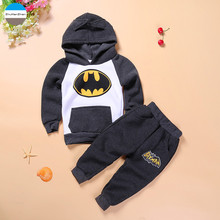 2017 cartoon batman kids clothes suit coat + pants 1 - 4 years old baby boys and girls clothing sets children's cotton clothes
