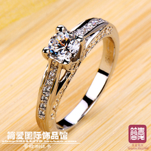 New item four claw square shape  NSCD synthetic stone wedding rings sterling sliver jewelry  engagement rings