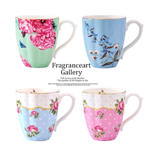 New Exports Bone China Flower Cup Bone Porcelain Large Capacity Mug Fresh Pastoral Office Cups Breakfast Cup Couples Cup Gife